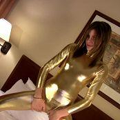 Lola Shiny Golden PVC Catsuit Striptease Dance HD Video