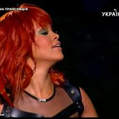 Rihanna Sexy Black Leather Red Hair Live In Russia Video