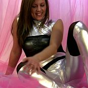 Sexy Taylor In Shiny Silver Catsuit Teasing You HD Video