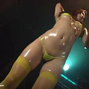 Gorgeous Japanese Girl In Yellow Bikini Oiled Trance Dance Video