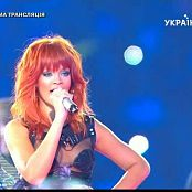 Rihanna Live In Russia Wearing Sexy Leather Outfit Video