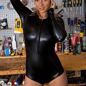 Nikki Sims Work Bench Black Vinyl Catsuit Picture Set