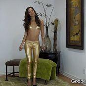 Goddess Rodea Shiny Gold Leggings JOI HD Video