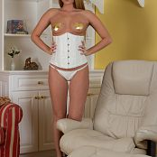 Sherri Chanel White Corset & Golden Star Pasties Picture Set
