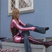 Young Gusel Shiny Pink Catsuit In Public Video