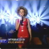 Kylie Minogue Shiny Red Latex Dress TOTP Video