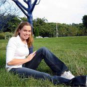 MeganQT White Blouse In Public Picture Set 003