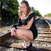 MeganQT Black Dress Railroad Track Picture Set 008