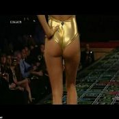Pamela Anderson Shiny Golden Swimsuit Catwalk Video