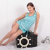 May Model Blue & White Stripes Picture Set 264