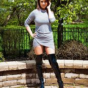 Nikki Sims Dress And Thigh High Boots Picture Set