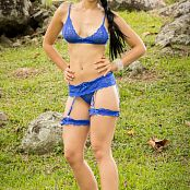 Yeraldin Gonzales Blue Lingerie Fields Picture Set