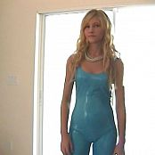 Heather aka Libby Gorgeous Blonde Teen Shiny Blue Latex Catsuit Video