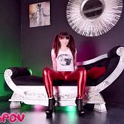 Princess Ellie Shiny Red Metallic Leggings JOI HD Video