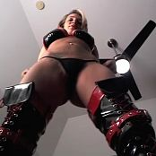Nikki Sims Black & Red Latex Laying Down Angle Camshow Cut Video