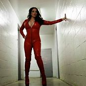 Goddess Alexandra Snow Red Latex Catsuit Photoshoot HD Video