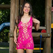 Britney Mazo Pink Lacey Mesh Mini Dress TBS Picture Set 006