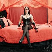 Goddess Alexandra Snow Black Leather On Red Photoshoot HD Video