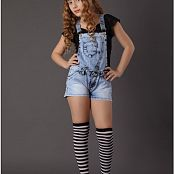 TeenModelingTV Khloe Black Top Overalls Picture Set