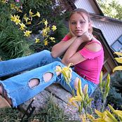 TeenModelingTV Sveta Holey Jeans Pink Top Picture Set