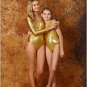 Fashion Land Angelica & Mika Bonus Golden Swimsuits Picture Set