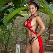 Luciana Model Sheer Red Lingerie Picture Set 003