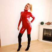 Daynia Red Oops I Did It Again Catsuit Anal & Piss Drink HD Video