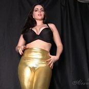 Goddess Alexandra Snow Shiny Gold Pants Video