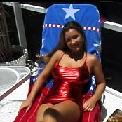 Christina Model Shiny Red PVC Dress Dance Tease Video