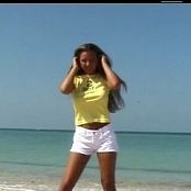 Christina Model Yellow Shirt On Beach Dance Video