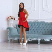 Brima Gabrielle Red Dress & White Heavy Shoes HD Videos