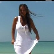 Christina Model White Dress On The Beach Video