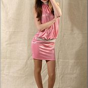 TeenModelingTV Kristine Shiny Pink Dress Picture Set