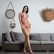 Ximena Gomez Shiny Pink Swimsuit Custom 046
