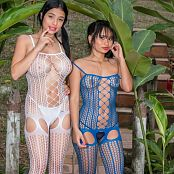 Pamela Martinez and Thaliana Bermudez White and Blue Lingerie Group 20 TCG Set 020 009
