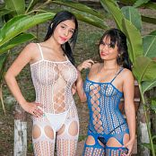 Pamela Martinez & Thaliana Bermudez White & Blue Lingerie Group 20 TCG Picture Set 020