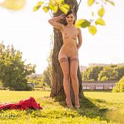 Jeny Smith Taking Off My Red Dress In a Park 011