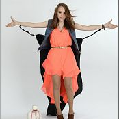 TeenModelingTV Madison Orange Dress 011
