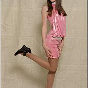 TeenModelingTV Kristine Shiny Pink Dress 011