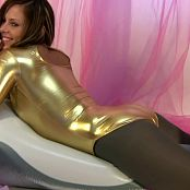 Taylor In Golden PVC Catsuit Smoking And Riding Plastic Dolphin HD Video
