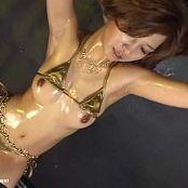 Cute Girl In Golden Bikini Oiled Up Trance Dance Video