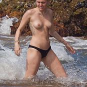 Miley Cyrus Topless Beach 006