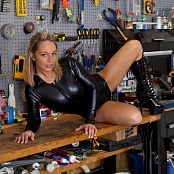 Nikki Sims Work Bench Black Vinyl Catsuit 005 jpg