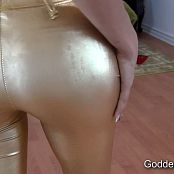Goddess Rodea Shiny Gold Leggings JOI HD Video