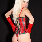 Young Gusel Red Latex Corset Picture Set