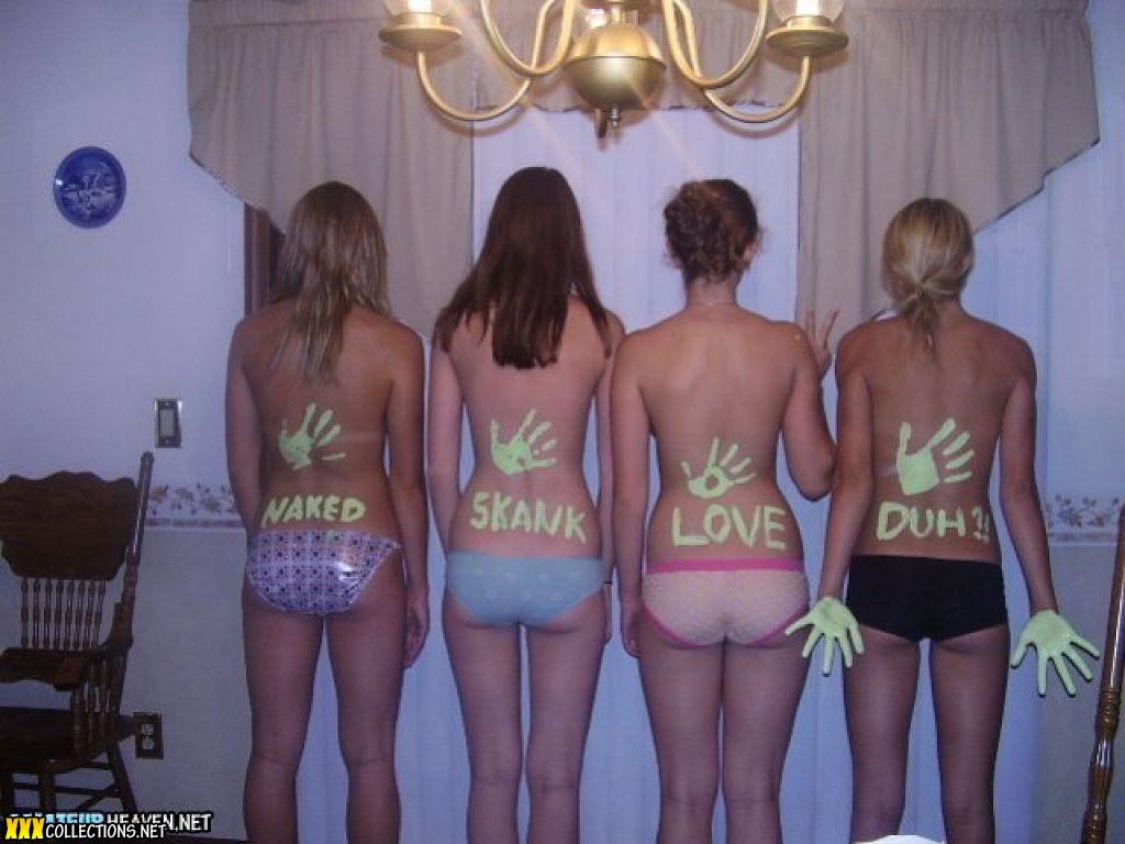 Green paint girls topless