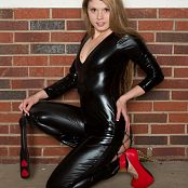 Sherri Chanel Black Latex Catsuit Set 321 007
