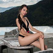 Ximena Model Shiny Black T-Back Picture Set 27