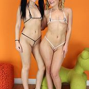 Teenikini Abby Cross and Karly Baker Black and White String Set 019 001