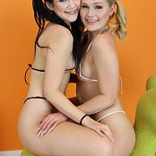 Teenikini Abby Cross and Karly Baker Black and White String Set 019 061